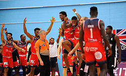 Bristol Flyers players celebrate at the final whistle - Photo mandatory by-line: Nizaam Jones/JMP - 19/10/2019 - BASKETBALL - SGS Wise Arena - Bristol, England - Bristol Flyers v London Lions - British Basketball League Cup