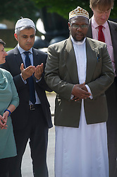 Sadiq Khan MP and Imam Ali of the British Armed Forces lay a wreath in memory of Drummer Lee Rigby with other religious leaders and MP's, Woolwich Barracks, South London, <br /> Friday, 31st May 2013<br /> Picture by i-Images