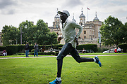 Refugee athlete Dominic Lokinyomo Lobalu takes part in a training session as he prepares to compete in tonight's 1500m heat at the IAAF World Athletics Championships in London.