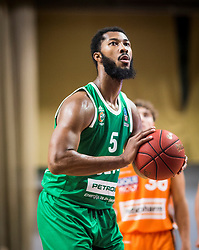 5# Mikael Hopkins of KK Cedevita Olimpija during the friendly match between KK Cedevita Olimpija Ljubljana and Ratiopharm Ulm on 11.9.2019 in Hala Tivoli, Ljubljana, Slovenia. Photo by Urban Meglič / Sportida