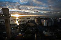 view from he top of the elevator at the sunset of the harbour and mercado modelo in the beautiful city of salvador in bahia state brazil