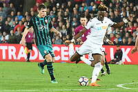 Football - 2017 / 2018 Premier League - Swansea City vs. Southampton<br /> <br /> Tammy Abraham of Swansea City shoots at goal, at Liberty Stadium.<br /> <br /> COLORSPORT/WINSTON BYNORTH