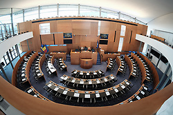 June 16, 2017 - Brussels, BELGIUM - Illustration picture shows the empty plenary room prior to a plenary session of the parliament of the Brussels Region in Brussels, Friday 16 June 2017. BELGA PHOTO BRUNO FAHY (Credit Image: © Bruno Fahy/Belga via ZUMA Press)
