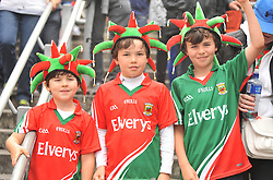 Happy Days for Young Mayo Fans Ben, Harry and Sam Smyth from Claremorris as they watched Mayo make it past Cork at Croke Park on sunday.<br />Pic Conor McKeown