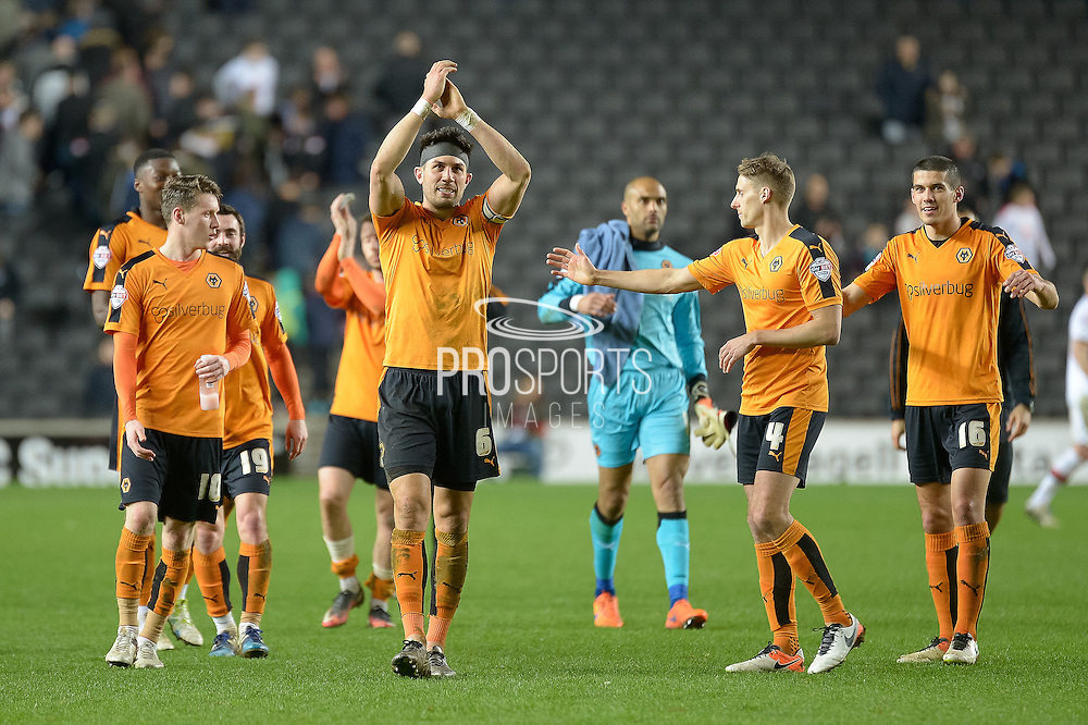 Wolves celebrate victory in front of their travelling supporters during the Sky Bet Championship match between Milton Keynes Dons and Wolverhampton Wanderers at stadium:mk, Milton Keynes, England on 5 April 2016. Photo by Dennis Goodwin.