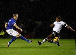 Leicester City's Ritchie De Laet scores the first goal - Photo mandatory by-line: Matt Bunn/JMP - Tel: Mobile: 07966 386802 10/01/2014 - SPORT - FOOTBALL - King Power Stadium - Leicester - Leicester City v Derby County - Sky Bet Championship