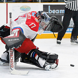 TRENTON, - Dec 10, 2015 -  Exhibition Game 3-  Russia vs Team Canada West at the 2015 World Junior A Challenge at the Duncan Memorial Gardens, ON. Vladislav Sukhachev #77 of Team Russia makes the save during the first period (Photo: Amy Deroche / OJHL Images)