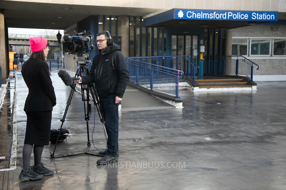 The Stansted 15 are sentenced at Chelmsford Crown court, 6th of February 2019, Chelmsford, United Kingdom. The defendants and supporters gather outside the court. The group of fifteen activists stopped a Home Office deportation charter flight in Stansted in 2017. The activists were charged under the terrorism law and 12 were sentenced community service and 3 were sentenced suspended 9 months prison sentences.
