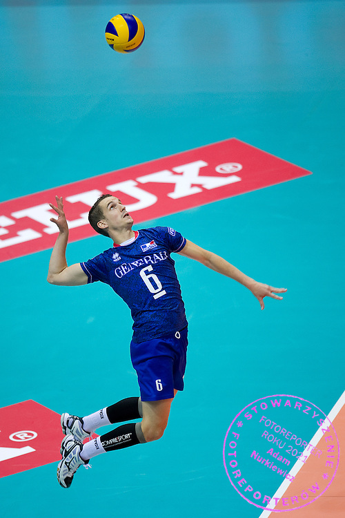 Benjamin Toniutti from France serves during the 2013 CEV VELUX Volleyball European Championship match between France and Slovakia at Ergo Arena in Gdansk on September 20, 2013.<br /> <br /> Poland, Gdansk, September 20, 2013<br /> <br /> Picture also available in RAW (NEF) or TIFF format on special request.<br /> <br /> For editorial use only. Any commercial or promotional use requires permission.<br /> <br /> Mandatory credit:<br /> Photo by © Adam Nurkiewicz / Mediasport