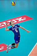 Benjamin Toniutti from France serves during the 2013 CEV VELUX Volleyball European Championship match between France and Slovakia at Ergo Arena in Gdansk on September 20, 2013.<br /> <br /> Poland, Gdansk, September 20, 2013<br /> <br /> Picture also available in RAW (NEF) or TIFF format on special request.<br /> <br /> For editorial use only. Any commercial or promotional use requires permission.<br /> <br /> Mandatory credit:<br /> Photo by &copy; Adam Nurkiewicz / Mediasport