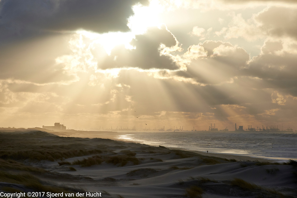 Uitzicht op duinen, zee en maasvlakte bij Rotterdam vanuit de duinen in Den Haag - View of the dunes, sea and the industrial area Maasvlakte near Rotterdam from the dunes in The Hague, Netherlands