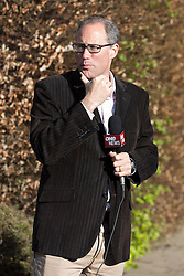 © Licensed to London News Pictures . 01/05/2013 . Wilmslow , Cheshire , UK . TV New Zealand reporter , Garth Bray , outside the driveway of The White House , home to actor Bill Roache MBE . Mr Bray's interview with Bill Roach in February 2013 saw the actor reveal controversial opinions about current child sex allegations in the media . Coronation Street actor , Bill Roache MBE has been arrested on charges of an historic rape against a 15 year old girl . Photo credit : Joel Goodman/LNP