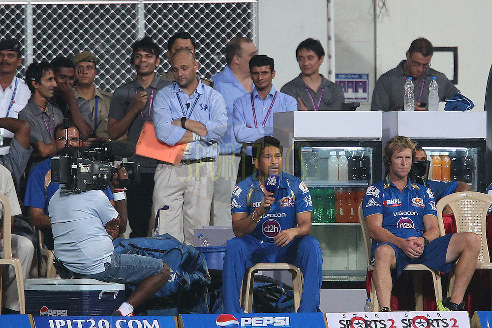 Sachin Tendulkar is interviewed during the Final of the Pepsi Indian Premier League between The Chennai Superkings and the Mumbai Indians  held at the Eden Gardens Stadium in Kolkata on the 26th May 2013..Photo by Ron Gaunt-IPL-SPORTZPICS      ..Use of this image is subject to the terms and conditions as outlined by the BCCI. These terms can be found by following this link:..http://www.sportzpics.co.za/image/I0000SoRagM2cIEc