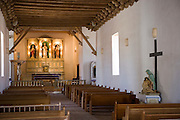 Interior of the chapel and the altar at the Socorro Mission La Purisima  on the Mission Trail in El Paso, Texas.corro Mission La Purisima in on the Mission Trail in El Paso, Texas.