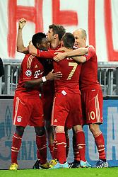 23.04.2013, Allianz Arena, Muenchen, GER, UEFA CL, FC Bayern Muenchen vs FC Barcelona, Halbfinale, Hinspiel, im Bild Freude nach dem 4:0. V.l.n.r.: David ALABA (FC Bayern Muenchen), Franck RIBERY (FC Bayern Muenchen),Thomas MUELLER (FC Bayern Muenchen) und Arjen ROBBEN (FC Bayern Muenchen) // during UEFA Champions League 1st Leg Semifinal Match between FC Bayern Munich and FC Barcelona at the Allianz Arena, Munich, Germany on 2013/04/23. EXPA Pictures © 2013, PhotoCredit: EXPA/ Eibner/ Wolfgang Stuetzle..***** ATTENTION - OUT OF GER *****