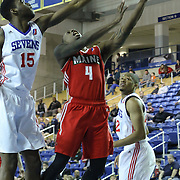 Maine Red Claws Guard Frank Gaines (4) drives to the basket in the second half of a NBA D-league regular season basketball game between the Delaware 87ers (76ers) and the Maine Red Claws (Boston Celtics) Friday, March. 21, 2014 at The Bob Carpenter Sports Convocation Center in Newark, DEL