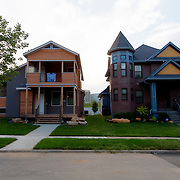 Beacon Hill neighborhood near downtown Kansas City, Missouri. New infill houses mixed with older, recently renovated residential properties.