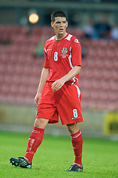Wrexham, Wales - Wednesday, August 12th, 2009: Wales' Mark Bradley during the UEFA Under 21 Championship Qualifying Group 3 match at the Racecourse Ground. (Photo by Chris Brunskill/Propaganda)