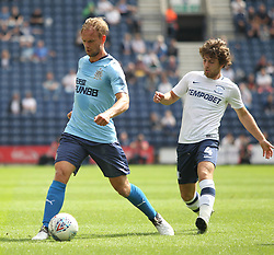 Siem De Jong of Newcastle United (L) and Ben Pearson of Preston North End in action - Mandatory by-line: Jack Phillips/JMP - 22/07/2017 - FOOTBALL - Deepdale - Preston, England - Preston North End v Newcastle United - Pre-Season Club Friendly