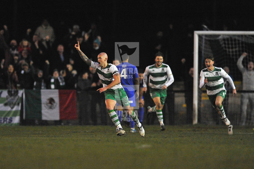 TELFORD COPYRIGHT MIKE SHERIDAN GOAL. Farsleys Danny Ellis celebrates after scoring to make it 1-1 during the Vanarama Conference North fixture between AFC Telford United and Farsley Celtic at The Citadel on Saturday, January 25, 2020.<br /> <br /> Picture credit: Mike Sheridan/Ultrapress<br /> <br /> MS201920-042