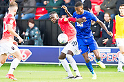 Salford City forward Mani Dieseruvwe in action  during the EFL Sky Bet League 2 match between Salford City and Leyton Orient at Moor Lane, Salford, United Kingdom on 31 August 2019.