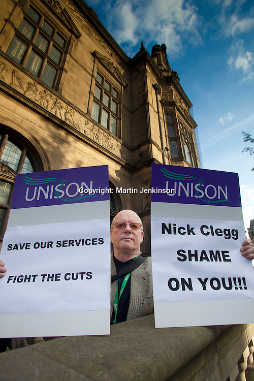 Unison members at a Sheffield Trades Council protest outside Sheffield Town Hall as local MP Nick Clegg attends a Q&A session. 03/09/2010.