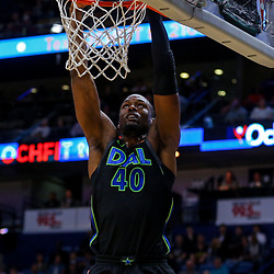 Mar 20, 2018; New Orleans, LA, USA; Dallas Mavericks forward Harrison Barnes (40) dunks against the New Orleans Pelicans during the first quarter at the Smoothie King Center. Mandatory Credit: Derick E. Hingle-USA TODAY Sports