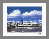 Signed and numbered 19x24 poster of the Cincinnati Skyline and Ohio River featuring the old Riverfront Stadium, former home of the Cincinnati Reds
