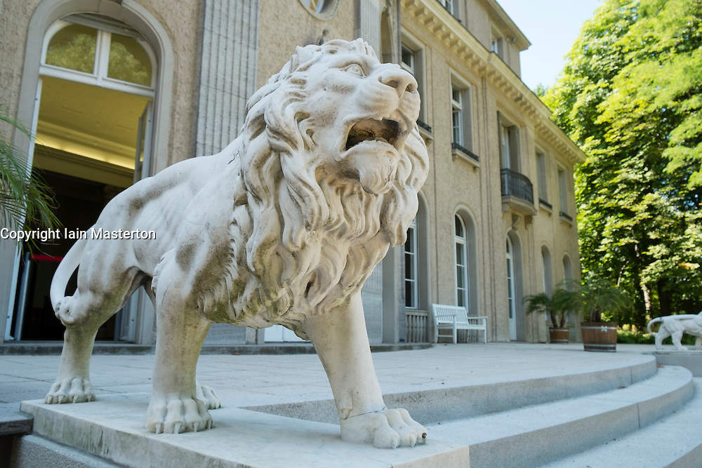 Lion sculptue at villa where Wannsee Conference was held during Second World War in Berlin Germany