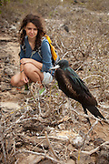 A visitor observes a great frigatebird (Fregata minor) from the trail on Genovesa Island, Galapagos Archipelago - Ecuador. (fully released - 82010EXsP)