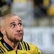 TJ Perenara responds to the haka after  the super rugby union  game between Hurricanes  and Highlanders, played at Westpac Stadium, Wellington, New Zealand on 24 March 2018.  Hurricanes won 29-12.