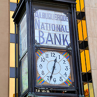 Bank Clock in First National Bank Courtyard in Albuquerque, New Mexico<br />