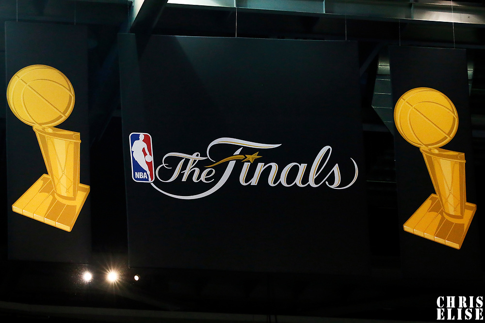 09 June 2017: Close view of the NBA Finals logo during the Cleveland Cavaliers 137-11 victory over the Golden State Warriors, in game 4 of the 2017 NBA Finals, at  the Quicken Loans Arena, Cleveland, Ohio, USA.