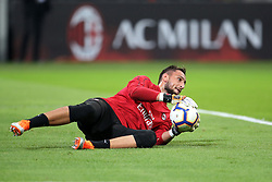 August 31, 2018 - Milan, Milan, Italy - 31st August 2018, San Siro, Milan, Italy; Serie A football, AC Milan versus Roma; Gianluigi Donnarumma of Milan warms up before the match  Credit: Giampiero Sposito/Pacific Press (Credit Image: © Giampiero Sposito/Pacific Press via ZUMA Wire)
