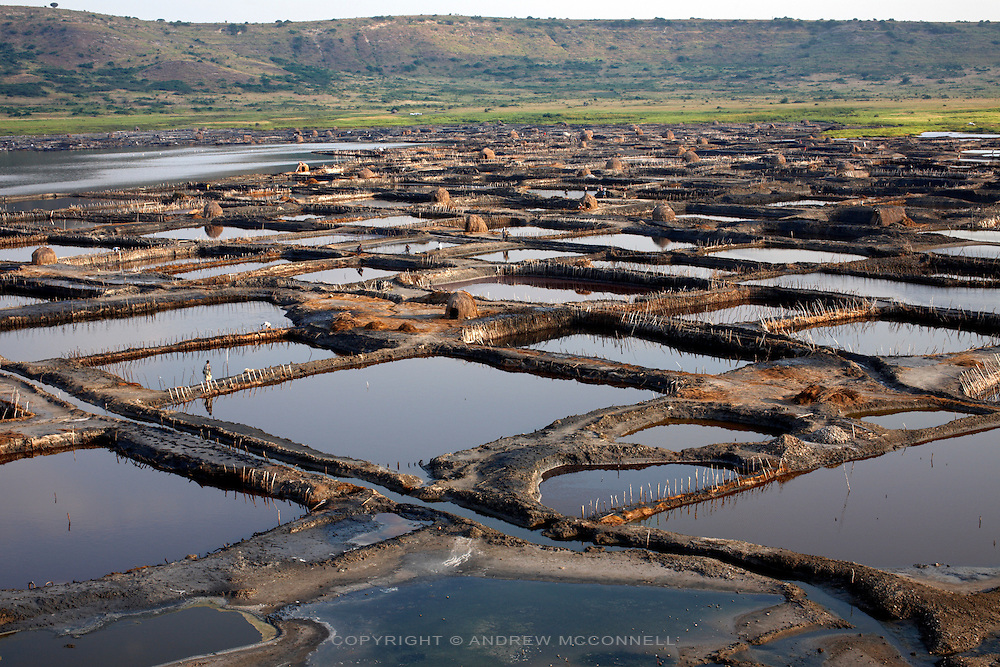 The salt pans of Lake Katwe, Uganda.