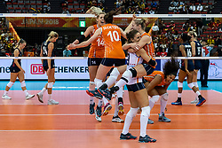 15-10-2018 JPN: World Championship Volleyball Women day 16, Nagoya<br /> Netherlands - USA 3-2 / Maret Balkestein-Grothues #6 of Netherlands, Myrthe Schoot #9 of Netherlands, Laura Dijkema #14 of Netherlands, Celeste Plak #4 of Netherlands, Lonneke Sloetjes #10 of Netherlands