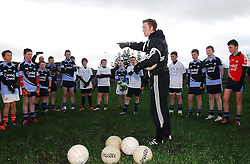 A lesson with 'the Gooch' Four time All-Ireland Senior medal winner Colm 'The Gooch' Cooper and AIB's Youth Ambassador was visiting Mayo on friday. He spent over an hour coaching the Rice College Westport's 1st year team and afterwards answered all their questions...Pic Conor McKeown