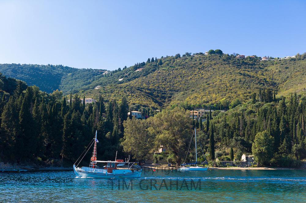 Trawler fishing boat at Kouloura, Ionian Sea coastal fishing village home to Lawrence Durrell, Corfu, Greece