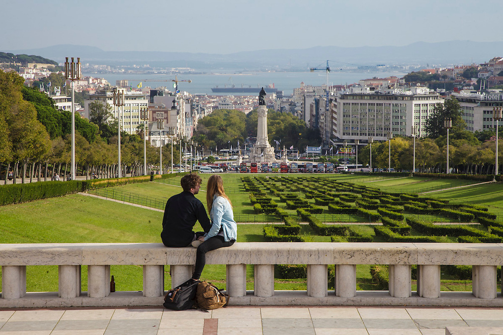 Lisbon view from the top o Eduardo VII Park