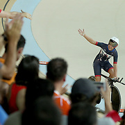 Track Cycling - Olympics: Day 8  Laura Trott of Great Britain salutes the crowd after the Great Britain team of Katie Archibald, Laura Trott, Elinor Barker and Joanna Rowsell-Shand won the gold medal in the Women's Team Pursuit Final during the track cycling competition at the Rio Olympic Velodrome August 12, 2016 in Rio de Janeiro, Brazil. (Photo by Tim Clayton/Corbis via Getty Images)