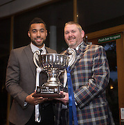 Dundee FC Supporters Association chairman Kenny Ross presents the Andrew De Vries Memorial Trophy to Dundee FC player of the year 2016-17 Kane Hemmings  - DSA Dundee FC player of the year dinner<br /> <br />  - &copy; David Young - www.davidyoungphoto.co.uk - email: davidyoungphoto@gmail.com
