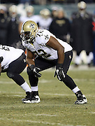 New Orleans Saints offensive tackle Terron Armstead (72) gets set during the NFL NFC Wild Card football game against the Philadelphia Eagles on Saturday, Jan. 4, 2014 in Philadelphia. The Saints won the game 26-24. ©Paul Anthony Spinelli
