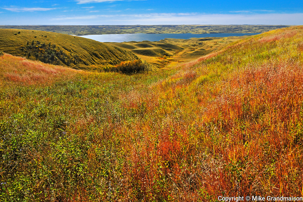 Diefenbaker Lake in autumn<br /> near Beechy<br /> Saskatchewan<br /> Canada