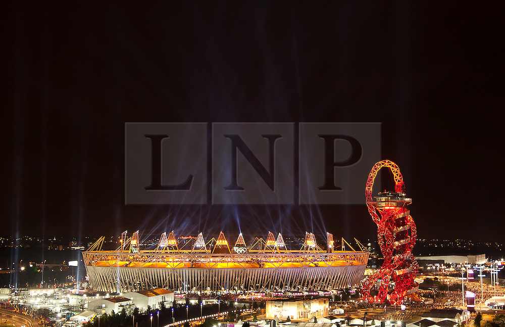 © Licensed to London News Pictures. 28/07/2012. LONDON, UK. The Olympic Stadium is seen after the opening ceremony of the 2012 Summer Olympics in London today (28/07/12). Constituting the third time the Olympic Games have been held in Great Britain, the 2012 Olympic Games, also known as the Games of the XXX Olympiad opened this evening with a show, put together by 'Slum Dog Millionaire' director Danny Boyle, entitled 'The Isles of Wonder. Photo credit: Matt Cetti-Roberts/LNP