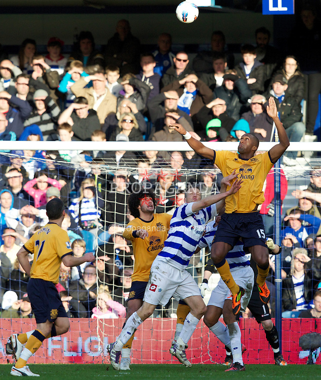 LONDON, ENGLAND - Saturday, March 3, 2012: Everton's Sylvain Distin in action against Queens Park Rangers during the Premiership match at Loftus Road. (Pic by Vegard Grott/Propaganda)