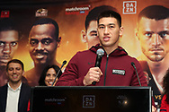 March 6, 2019; New York, NY, USA; WBA light heavyweight champion Dmitriy Bivol speaks at the final press conference for the March 9, 2019 Matchroom Boxing USA fight card at the Turning Stone Resort and Casino in Verona, NY.  Mandatory Credit: Ed Mulholland/Matchroom Boxing USA