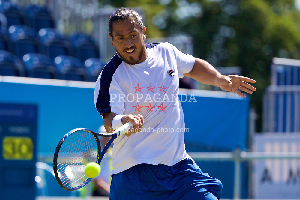 LIVERPOOL, ENGLAND - Saturday, June 17, 2017: Guillermo Cañas (ARG) during Day Three of the Liverpool Hope University International Tennis Tournament 2017 at the Liverpool Cricket Club. (Pic by David Rawcliffe/Propaganda)