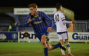 Alfie Egan celebrates his goal during the FA Youth Cup match between U18 AFC Wimbledon and U18 Chelsea at the Cherry Red Records Stadium, Kingston, England on 9 February 2016. Photo by Michael Hulf.