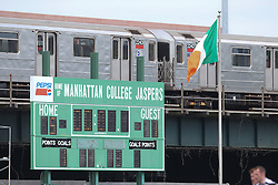 May 6, 2012; Bronx, NY; USA; A train goes by Gaelic Park during the game between Sligo and New York.