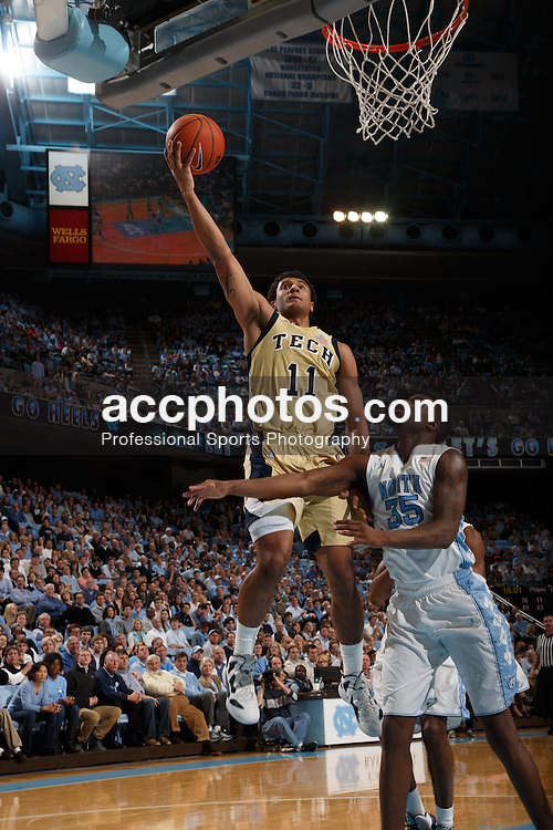 CHAPEL HILL, NC - JANUARY 23: Chris Bolden #11 of the Georgia Tech Yellow Jackets scores ball during a game against the North Carolina Tar Heels on January 23, 2013 at the Dean E. Smith Center in Chapel Hill, North Carolina. North Carolina won 63-79. (Photo by Peyton Williams/UNC/Getty Images) *** Local Caption *** Chris Bolden
